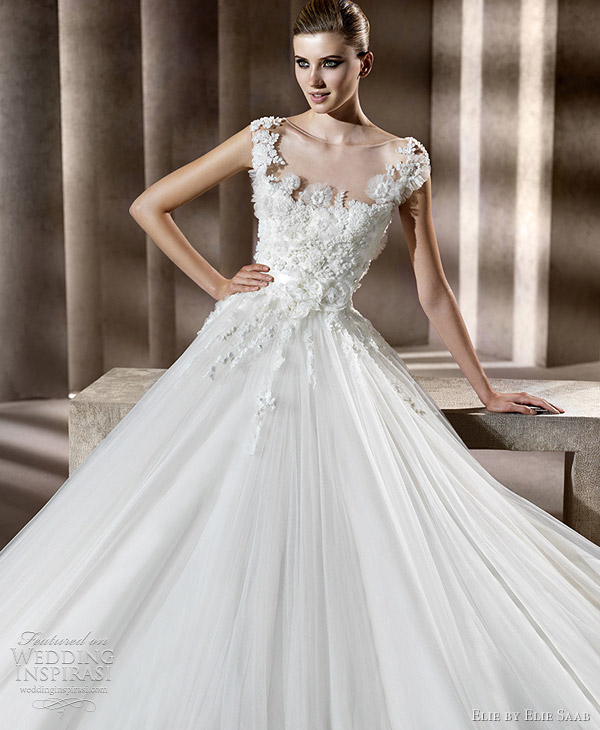 Elie by elie saab wedding dresses 2012 neftis bridal gown with cap